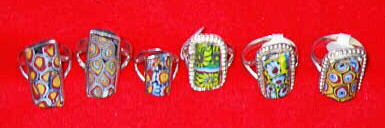 Antique trade bead rings